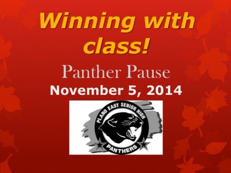 Panther Pause- Wednesday, November 5, 2014