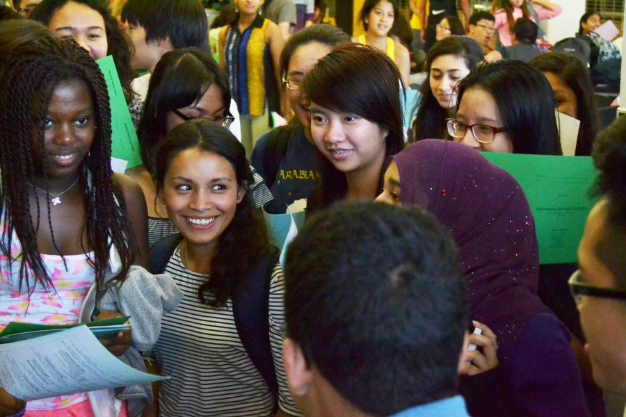 A culturally diverse array of students gather at a recent NHS meeting.