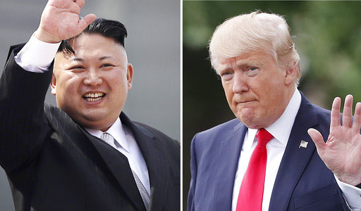 Donald Trump (right) debates Kim Jong-Un's (left) policies at the UN conference on Sept. 12, 2017 at the UN headquarters in New York City.