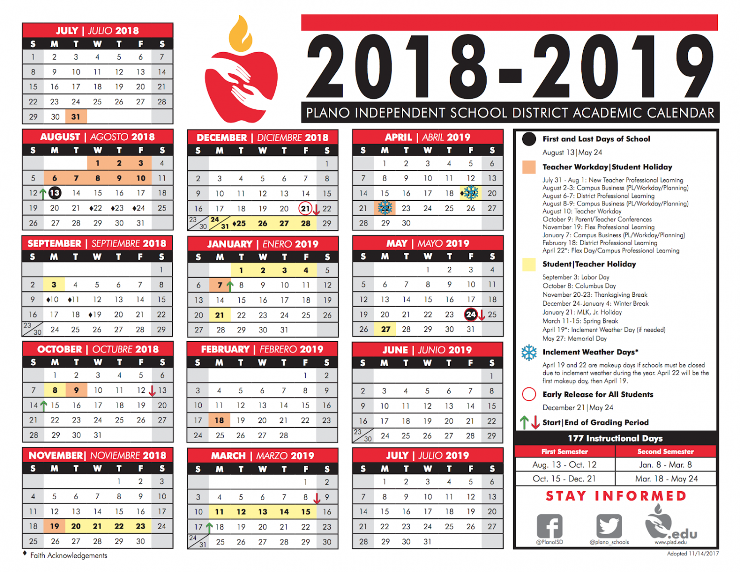 The schedule for the Plano ISD 2018-19 school year.