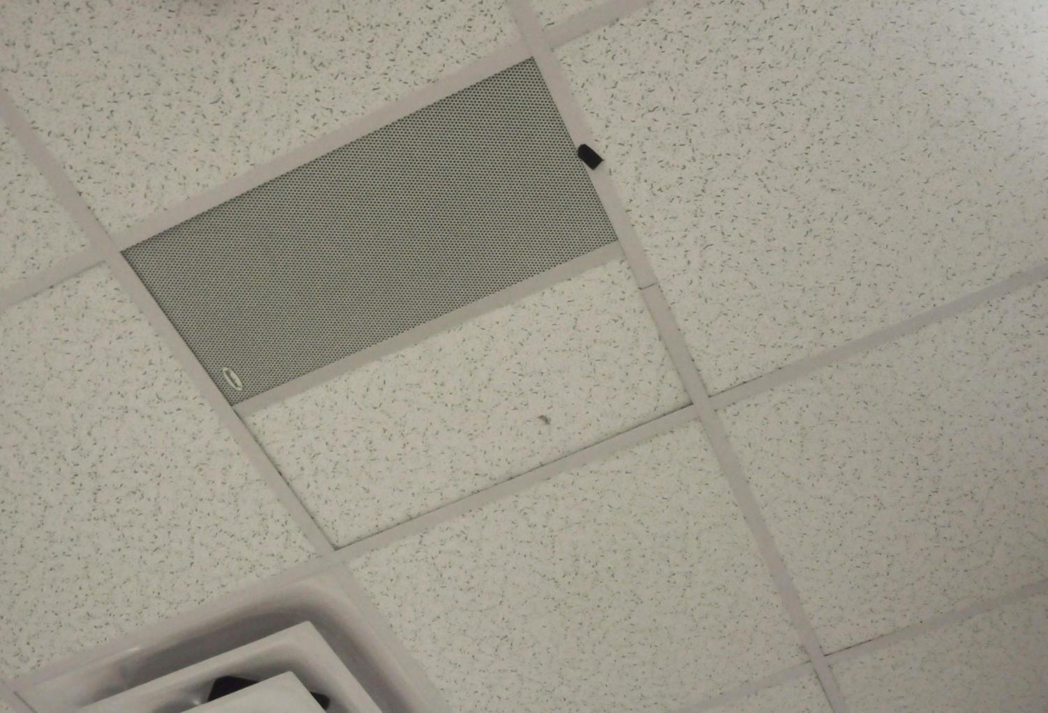 A classroom speaker on the ceiling that will communicate emergency messages to students and staff.