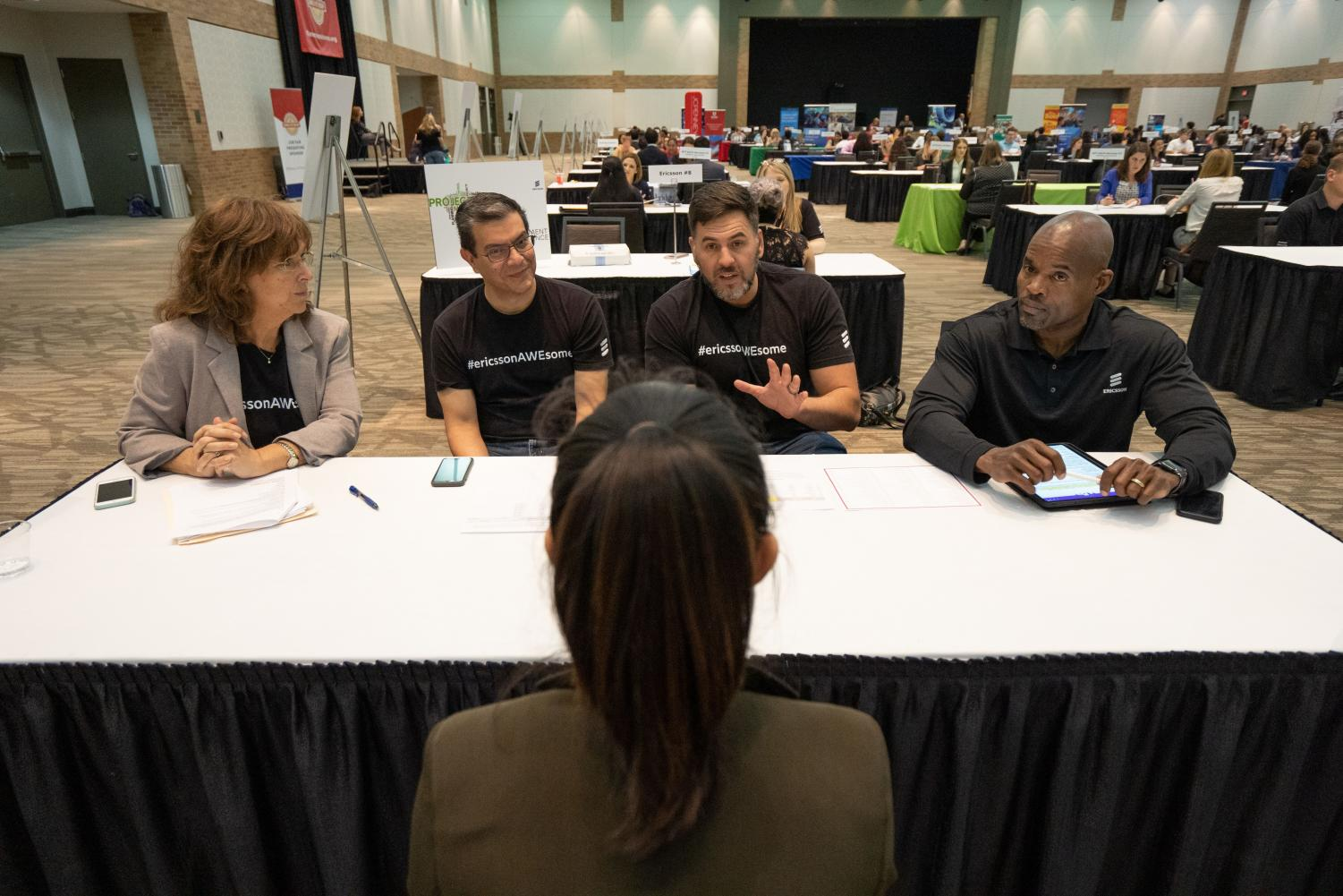 Student interviews with Ericsson telecommunications company during the Plano Mayor's Summer Internship  Program Job Fair on March 26.