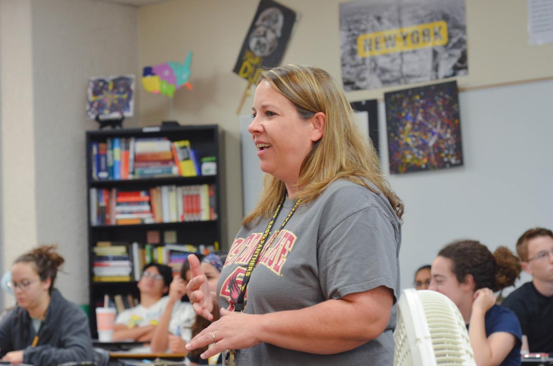 Kristy Alexander teaches American Studies on Aug. 21.