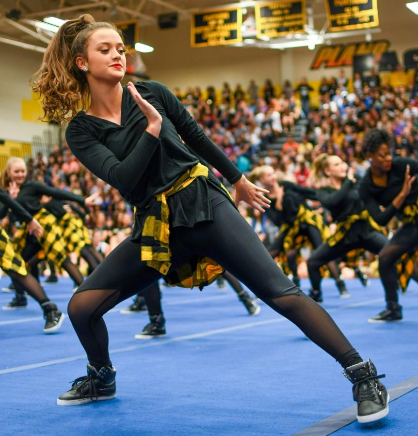 Senior lieutenant Kaytie Cooke standing front-center at the pep rally on Sept. 13, 2019.