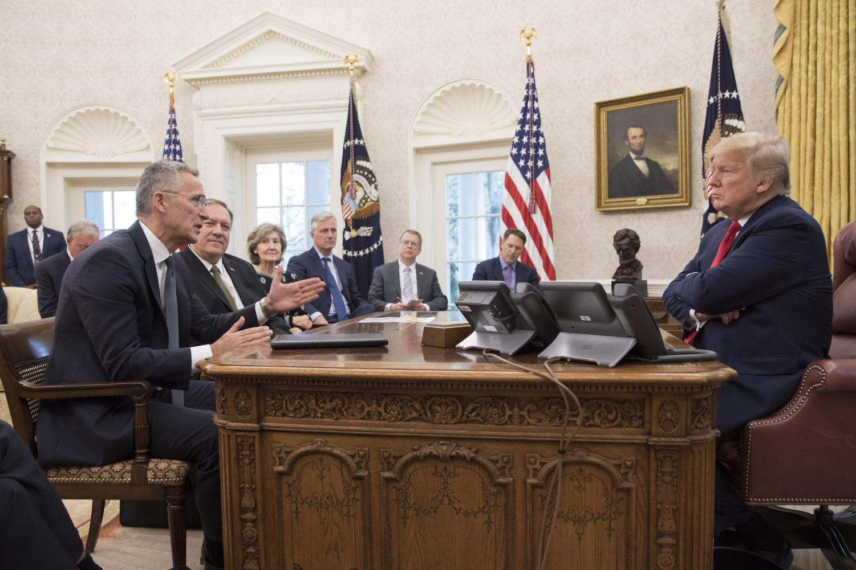 President Trump meets with NATO Secretary General Jens Stoltenberg on Nov. 14.